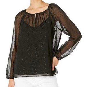 POINT SUR black popover in pin dot chiffon